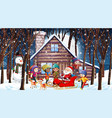 christmas scene with santa and many kids vector image vector image
