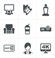 cinema and movie icons set vector image vector image