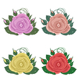 close-up set of roses isolated on white background vector image