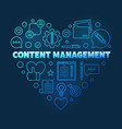 content management heart line blue vector image vector image