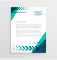 creative letterhead design with arrow in green vector image vector image