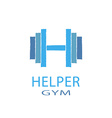 Dumbbell idea H letter logo of gym fitness blue vector image