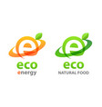 eco energy logo and eco food - green emblems vector image