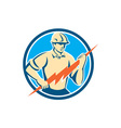 Electrician Holding Lightning Bolt Circle Retro vector image vector image