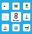 flat icon summer set of scuba diving yacht vector image vector image