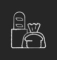 fresh bread takeout chalk white icon on black vector image vector image