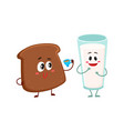 funny dark brown bread slice and milk glass vector image vector image