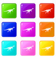gallimimus dinosaur icons 9 set vector image vector image