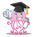 graduation cute jellyfish character cartoon vector image