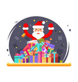 happy santa claus shopping pile goods christmas vector image vector image