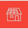 House with solar panel line icon vector image vector image