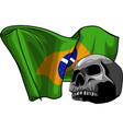 human skull with brazil flag vector image vector image