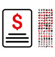 invoice budget icon with 90 bonus pictograms vector image vector image