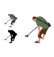 man with shorts and slippers using metal detector vector image vector image