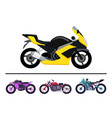 modern bike design yellow scooter set motorbikes vector image vector image