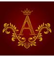 Patterned golden letter A monogram in vintage vector image vector image