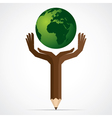 pencil hand save the world stock vector image