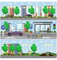 People in park concept banners City landscape vector image vector image