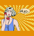 pop art vintage comic girl talking on the phone vector image vector image