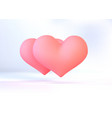 realistic pink valentine heart in 3d style vector image vector image