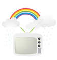 retro tv and rainbow vector image vector image