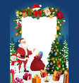 santa snowman with christmas tree and signboard vector image vector image