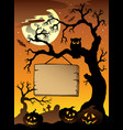 scene with halloween tree 1 vector image