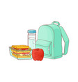school backpack and food for lunch break vector image vector image