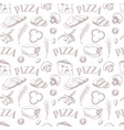 seamless pattern with ingredients for pizza vector image