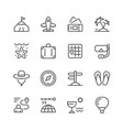 set line icons of travel vector image vector image