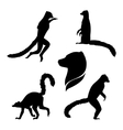 silhouettes of a lemur vector image vector image