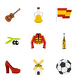 Spanish culture symbols icons set flat style vector image