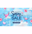 spring sale banner with cherry blossoms flowers vector image vector image