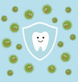 tooth character in protective shield germs vector image vector image