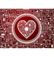 valentines day red background with cyber heart vector image vector image
