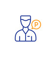 valet servant line icon parking person sign vector image
