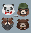 Wild angry bears set Angry Panda bear in a vector image vector image