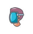 worker face protection industrial safety fill vector image