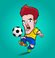 yellow shirt play football cartoon vector image vector image