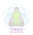 yoga position with sacred geometry vector image
