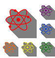 atom sign set of red orange yellow vector image