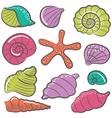 colorful seashell set vector image