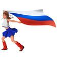 russian woman fan holding flag beautiful girl vector image