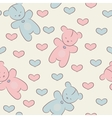 Seamless pattern with teddy bears and hearts vector image