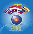 Flag of Asean Economic Community AEC 02 vector image