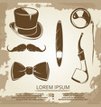 getlemen style objects - cylinder bow tie vector image