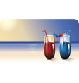 two cocktails on summer beach vector image