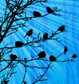 Landscape with birds on tree and sunray vector image
