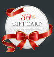 30 percent discount gift card certificate for vector image vector image