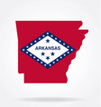 arkansas state shape with flag logo vector image vector image